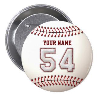 El béisbol cose el jugador número 54 y el nombre d pins