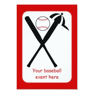 """El béisbol cruzó palos y el negro del casquillo, invitación 5"""" x 7"""""""