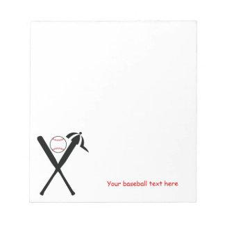 El béisbol cruzó palos y el negro del casquillo, p blocs de notas