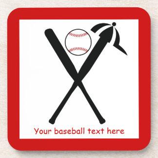 El béisbol cruzó palos y el negro del casquillo, p posavaso
