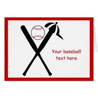 El béisbol cruzó palos y el negro del casquillo, tarjeta de felicitación