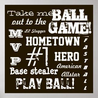 El béisbol de Brown del sitio del muchacho se divi Posters