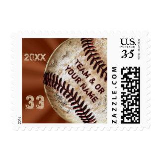 El béisbol de encargo del vintage sella 3 estampillas