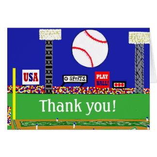 El béisbol de la diversión le agradece personaliza tarjeta pequeña
