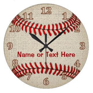 El béisbol de lino personalizado de la mirada reloj redondo grande