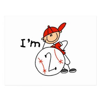 El béisbol del muchacho soy 2 camisetas y regalos postal
