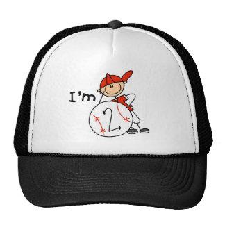 El béisbol del muchacho soy 2 gorros
