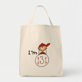 El béisbol del muchacho soy 3 camisetas y regalos bolsa tela para la compra