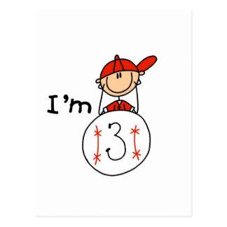 El béisbol del muchacho soy 3 camisetas y regalos postal