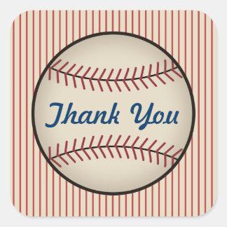 El béisbol del vintage le agradece los pegatinas pegatina cuadrada