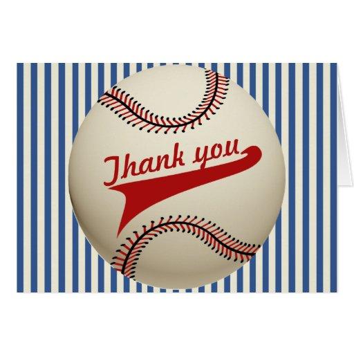 El béisbol del vintage le agradece tarjeta pequeña