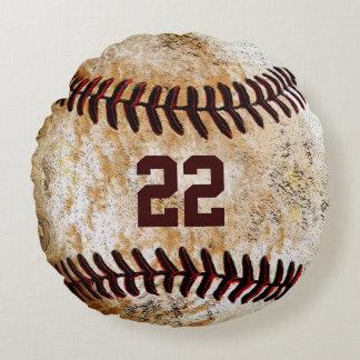 El béisbol del vintage soporta el nombre, nombre cojín redondo