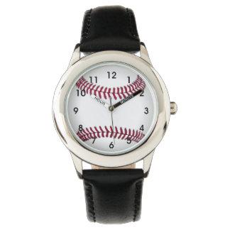 El béisbol embroma el reloj del acero inoxidable