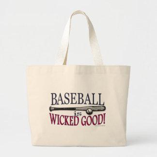 El béisbol es buen bolso travieso bolsa de tela grande