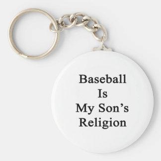 El béisbol es la religión de mi hijo llavero redondo tipo pin