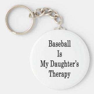 El béisbol es la terapia de mi hija llavero redondo tipo pin