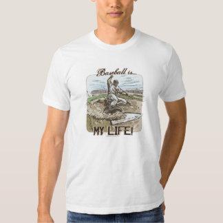 ¡El béisbol es mi vida! Camiseta del resbalador Remera