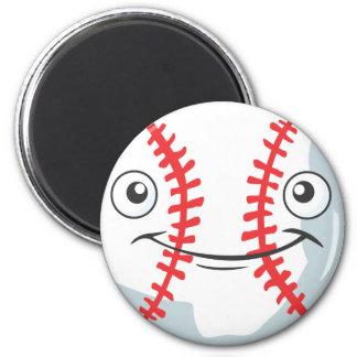 El béisbol feliz fresco se divierte el dibujo anim imán redondo 5 cm