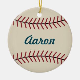 El béisbol personalizado del navidad se divierte adorno navideño redondo de cerámica