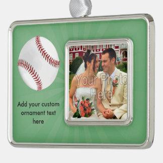 El béisbol personalizado en verde embroma a adornos navideños