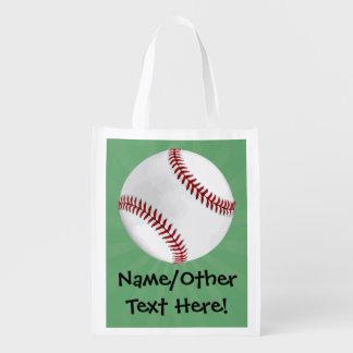 El béisbol personalizado en verde embroma a bolsas para la compra