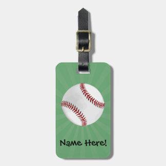 El béisbol personalizado en verde embroma a etiquetas para maletas
