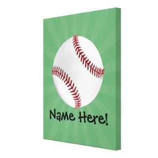 El béisbol personalizado en verde embroma a impresión de lienzo