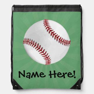 El béisbol personalizado en verde embroma a mochila