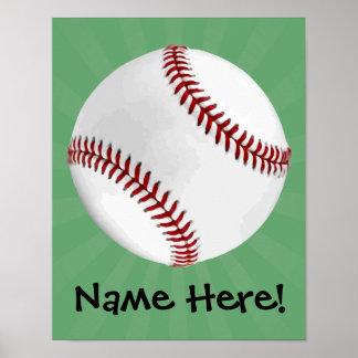 El béisbol personalizado en verde embroma a posters
