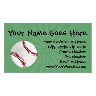 El béisbol personalizado en verde embroma a tarjetas de visita