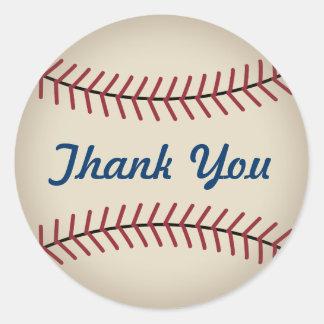 El béisbol rústico le agradece los pegatinas pegatina redonda
