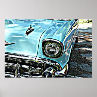 El Bel Air chevy azul Póster