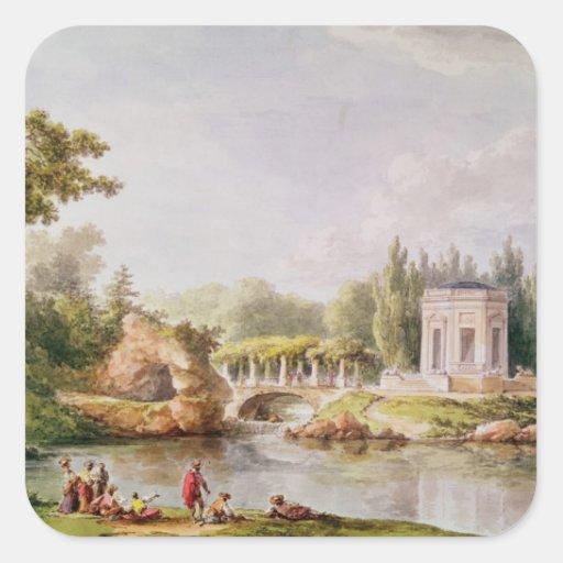 El belvedere, Trianon pequeno Calcomanías Cuadradas