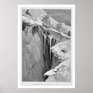 El Bergschrund en la abolladura Blanche en 1865, d Póster