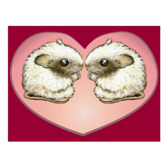 El besarse de dos ratones postal