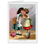 El besarse de los chicas tarjetón
