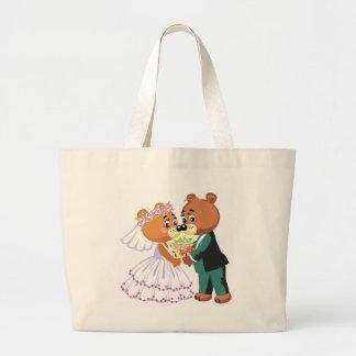 El besarse de los osos de peluche de la boda bolsas de mano