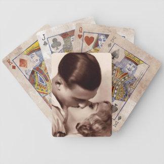 El besarse del vintage cartas de juego