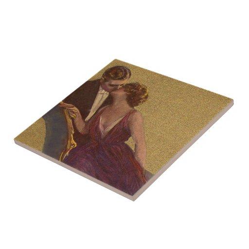 El besarse en la tarjeta del día de San Valentín d Azulejo Cuadrado Pequeño