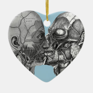 El besarse principal anatómico del vintage adorno navideño de cerámica en forma de corazón