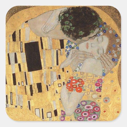 El beso, 1907-08 2 pegatinas cuadradases personalizadas