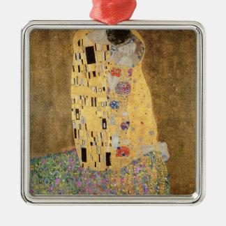 El beso, 1907-08 adorno navideño cuadrado de metal