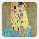El beso 2 de Gustavo Klimt Calcomanías Cuadradas
