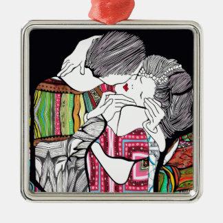 El beso adorno navideño cuadrado de metal