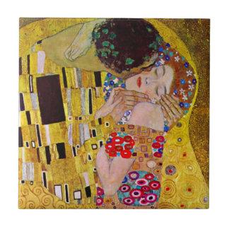 El beso de Gustavo Klimt, arte Nouveau del vintage Azulejo