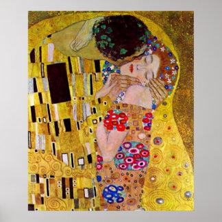 El beso de Gustavo Klimt arte Nouveau del vintage Impresiones