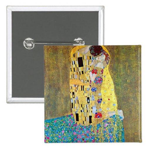El beso de Gustavo Klimt, arte Nouveau del vintage Pin Cuadrado
