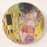 El beso de Gustavo Klimt, arte Nouveau del vintage Posavasos Manualidades
