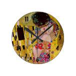 El beso de Gustavo Klimt, arte Nouveau del vintage Reloj