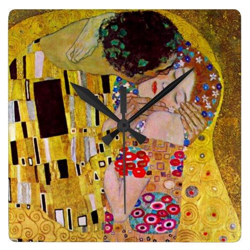 El beso de Gustavo Klimt, arte Nouveau del vintage Reloj Cuadrado
